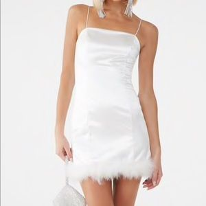 White Holiday Dress with Faux Fur and Satin